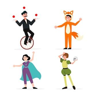 Flache illustrationen von karnevalsfiguren, die kostüme tragen