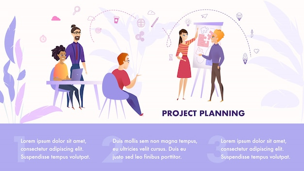 Flache illustrations-gruppen-leute, die an projekt arbeiten