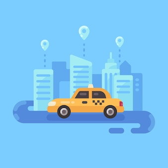 Flache illustrationsfahne des taxi-services