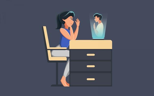 Flache illustrationsfrau sprechen mit hologramm