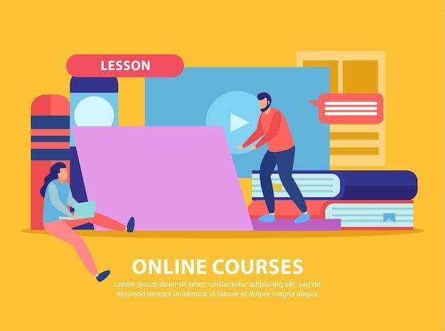 Flache illustrationskomposition der online-bildung mit computerinhalten und büchern mit menschlichen charakteren