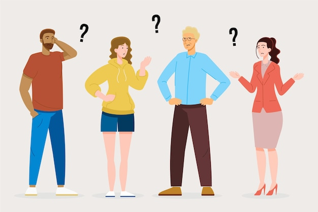 Flache illustrationsleute, die fragen stellen