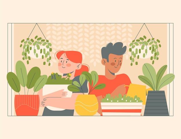 Flache illustrationsleute, die sich um pflanzen kümmern