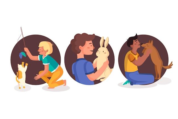 Flache illustrationsleute mit haustiersammlung