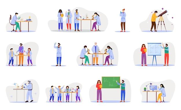 Flache illustrationssatzillustration der praktischen wissenschaft