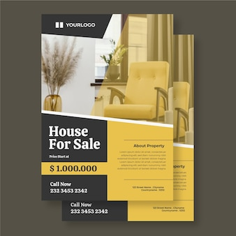 Flache immobilienplakatschablone mit foto