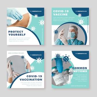 Flache impfstoff-instagram-beiträge mit fotos