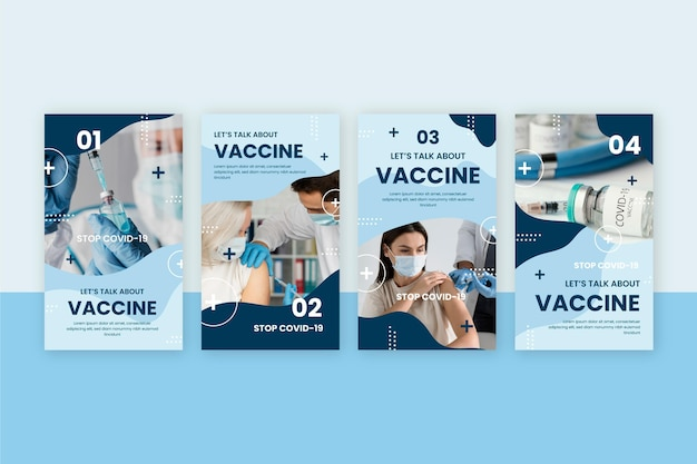 Flache impfstoff-instagram-geschichten mit fotos