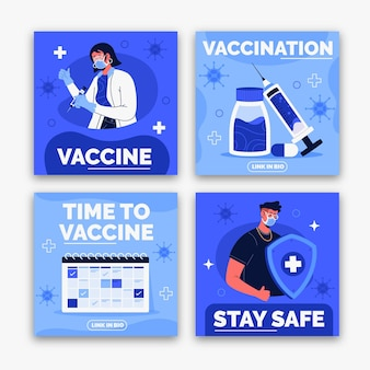 Flache impfstoff instagram post sammlung Kostenlosen Vektoren