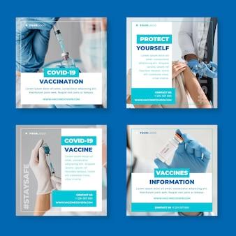 Flache impfstoff-instagram-postsammlung mit fotos