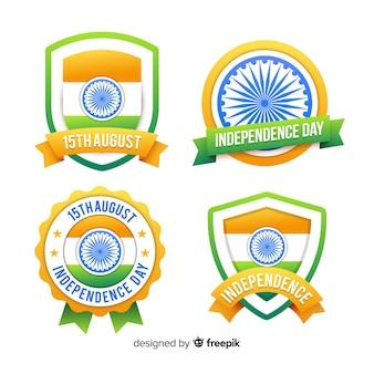 Flache indien unabhängigkeitstag abzeichensammlung