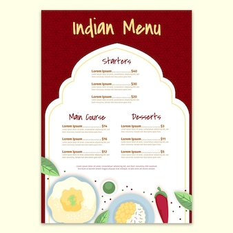 Flache indische menüvorlage