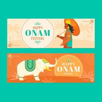 Flache indische onam-banner-set