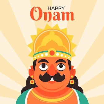 Flache indische onam-feierillustration