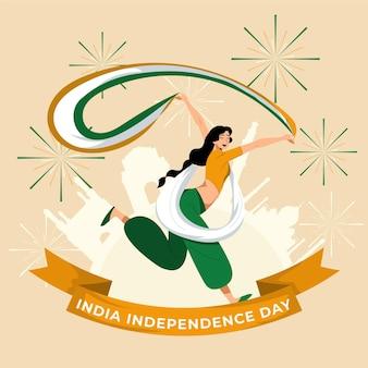 Flache indische unabhängigkeitstagillustration Kostenlosen Vektoren