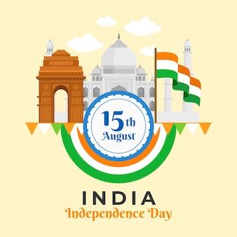 Flache indische unabhängigkeitstagillustration
