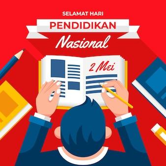 Flache indonesische nationale bildungstagillustration