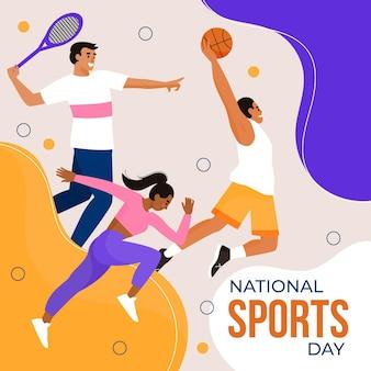 Flache indonesische nationalsporttagesillustration