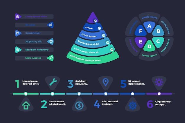 Flache infografik-elemente-sammlung Premium Vektoren
