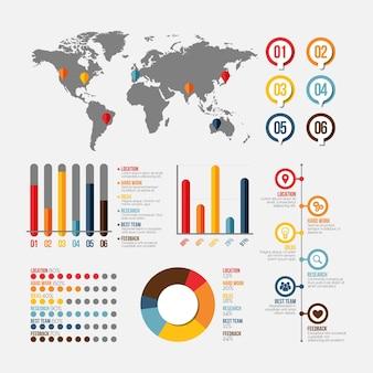 Flache infografik-elemente-sammlung
