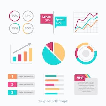 Flache infografik elementsammlung