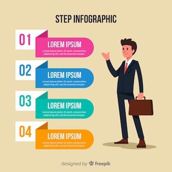 Flache infografik schritt