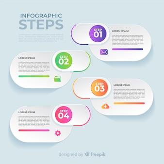 Flache infografik-schritte mit farbverlauf