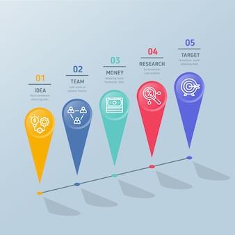 Flache infografik schritte mit schatten