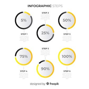 Flache infografik schritte vorlage