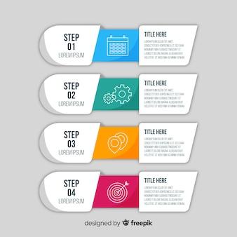 Flache infografik-schritte