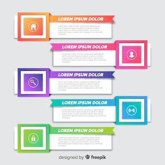 Flache infografiken schritt sammlung