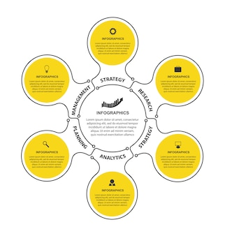 Flache infografiken vorlage mit 6 optionen oder schritten.