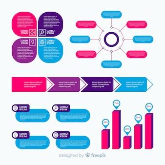 Flache infographic elemente mit statistiksammlung