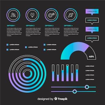 Flache infographik elemente mit statistiken sammlung