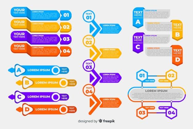 Flache infographik elementsammlung