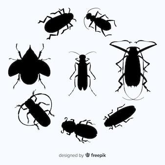 Flache insekt silhouette kollektion
