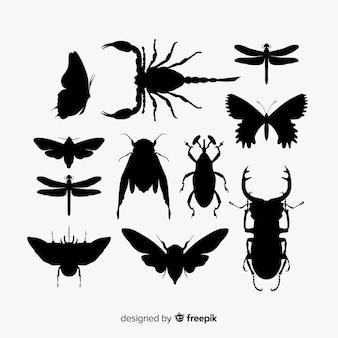 Flache insekt silhouetten-sammlung