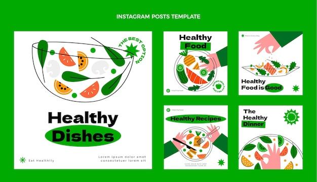 Flache instagram-beiträge zu gesundem essen