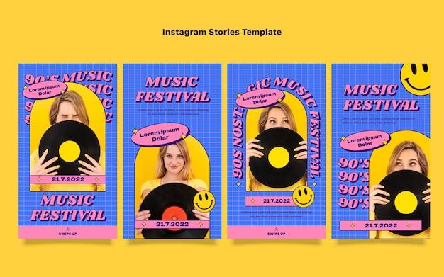 Flache instagram-geschichten über das nostalgische musikfestival der 90er jahre