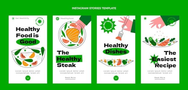 Flache instagram-geschichten über gesundes essen