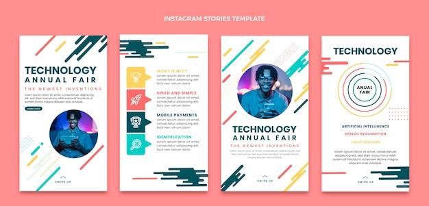 Flache instagram-geschichtensammlung mit minimaler technologie