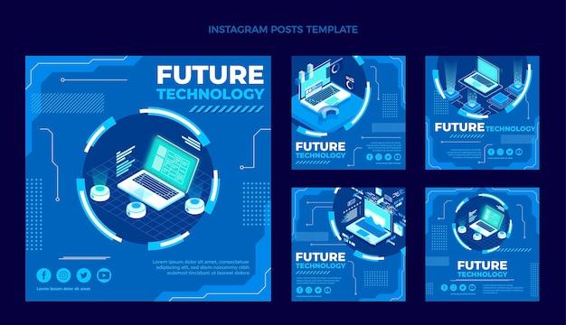 Flache instagram-posts-sammlung mit minimaler technologie