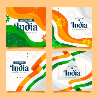 Flache instagram posts sammlung zum unabhängigkeitstag indien