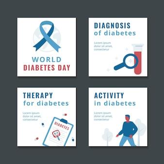 Flache instagram-posts-sammlung zum weltdiabetestag