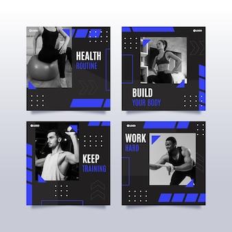 Flache instagram-postsammlung für gesundheit und fitness