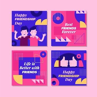 Flache internationale freundschaftstag instagram beiträge sammlung
