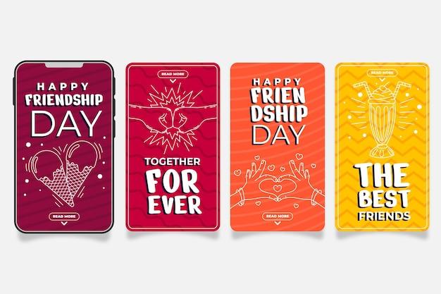 Flache internationale freundschaftstag instagram geschichten sammlung