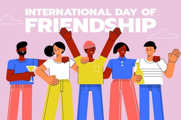 Flache internationale freundschaftstagillustration