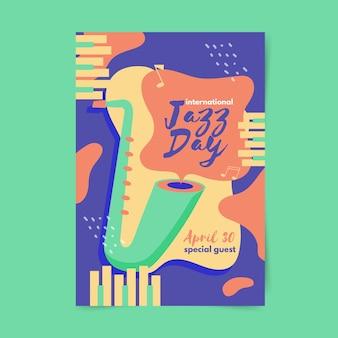 Flache internationale jazz day flyer vorlage