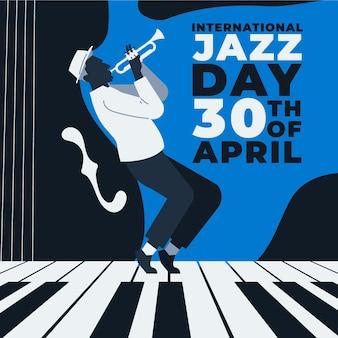Flache internationale jazz-tagesillustration